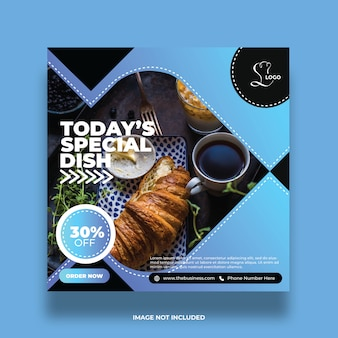 Delicious abstract today's special dish food social media post colorful promotion template