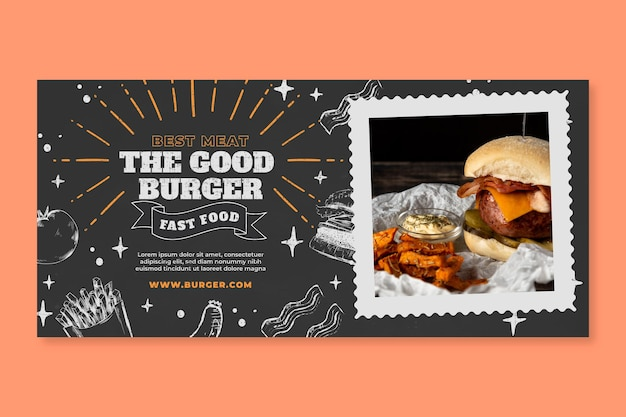 Delicious american food banner template
