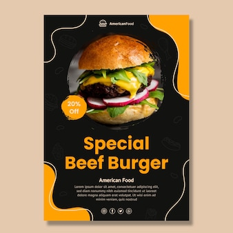Delicious american food poster template