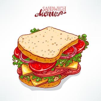 맛있는 식욕을 돋우는 샌드위치. 손으로 그린 그림