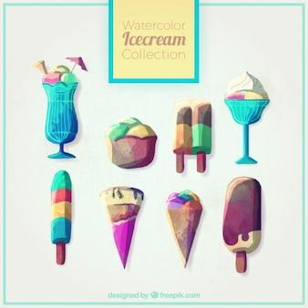 수채화 효과에 맛있는 예술적 아이스크림
