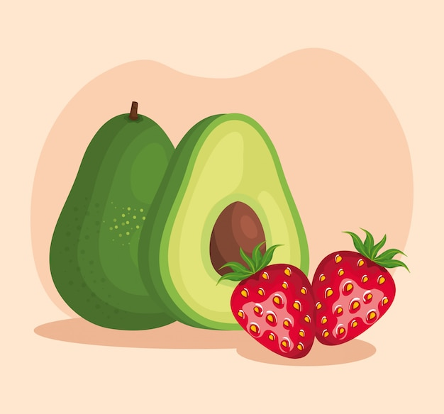 Delicious avocado and strawberry fruits with leaves over pink