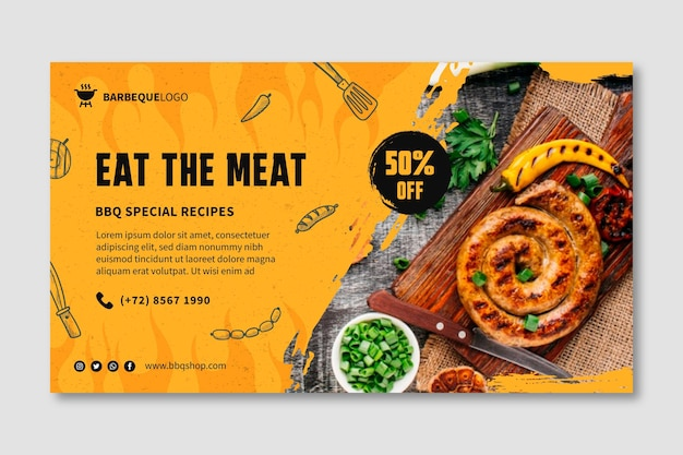 Delicious barbeque banner template