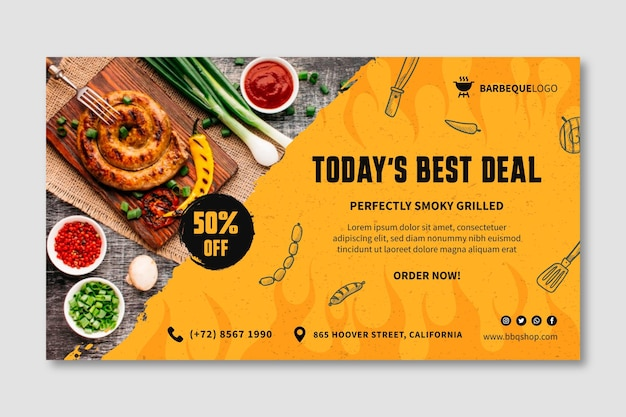 Delicious barbeque horizontal banner template