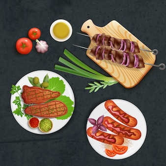 Delicious bbq dishes cooked on grill with sauce and vegetables realistic illustration