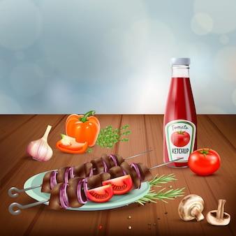 Вкусный барбекю на гриле шашлык подается с овощами грибы и кетчуп реалистичные иллюстрации