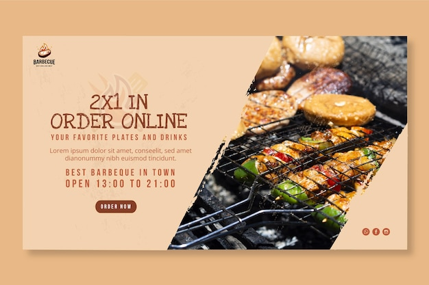Delicious bbq horizontal banner template