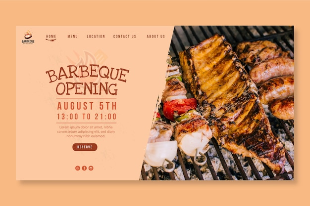 Delicious bbq landing page template
