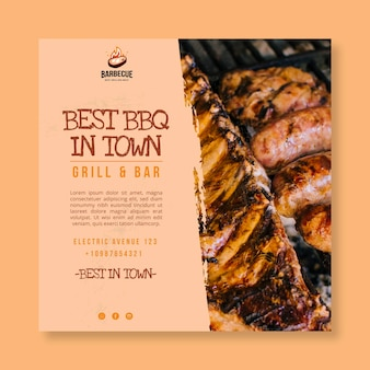 Delicious bbq squared flyer template