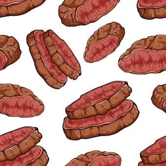 Delicious beef steak in seamless pattern with colored doodle art
