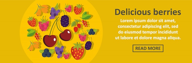 Delicious berries banner template horizontal concept