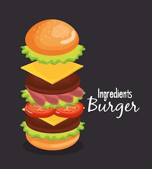 Delicious big burger fast food vector illustration design