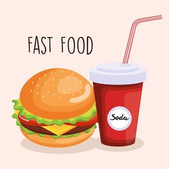 Delicious big burger and soda vector illustration design
