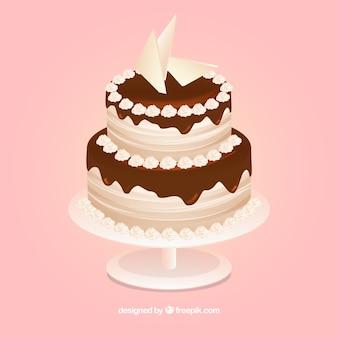 Stile disegnato delizioso della torta di compleanno a disposizione