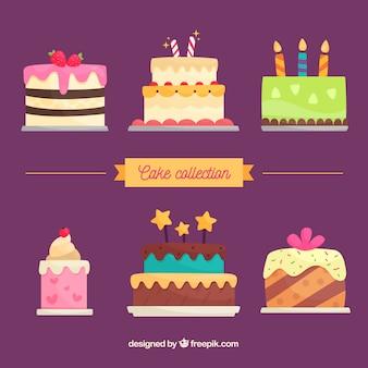 평면 스타일의 맛있는 생일 케이크 컬렉션