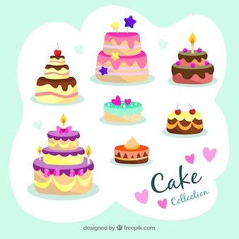 Delicious birthday cakes collection in flat style