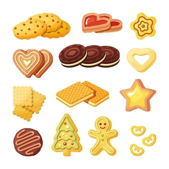 맛있는 비스킷, 베이커리 제품 평면 세트. 달콤한 쿠키, 와플 및 진저 브레드 색상 컬렉션.