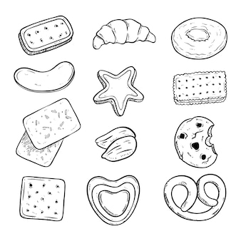 Delicious biscuits collection with sketch style