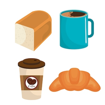 Delicious bread and coffee vector illustration design