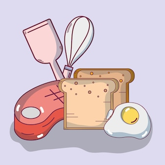 Delicious breakfast cartoons