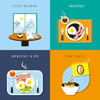 평면 디자인에 맛있는 아침 식사 컬렉션 설정