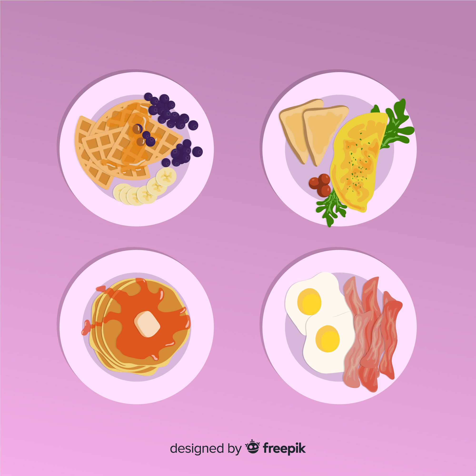Delicious breakfast dishes collection