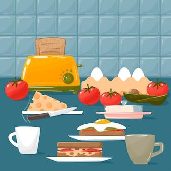 맛있는 아침 식사 음식, 평면 디자인.