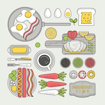 フラットラインデザインのおいしい朝食用食品