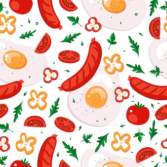 Delicious breakfast fried eggs and sausages.  seamless pattern.
