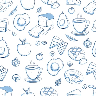 Delicious breakfast seamless pattern with doodle or hand drawn style