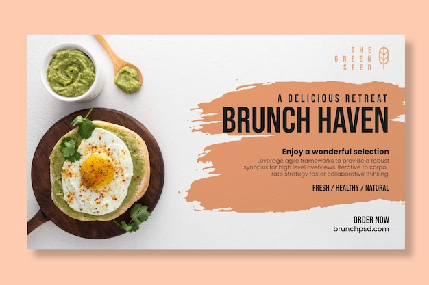 Delicious brunch horizontal banner template