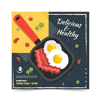 Delicious brunch squared flyer template