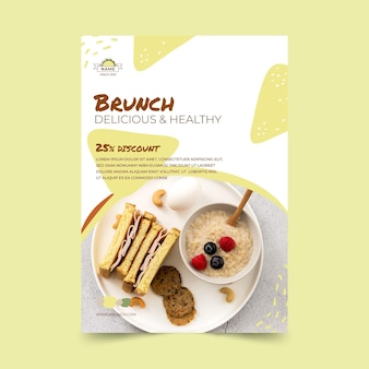 Delicious brunch vertical flyer template
