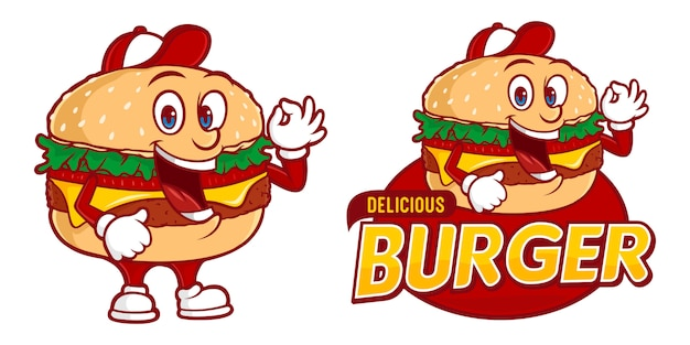 Delicious burger, fast foods logo template with funny character