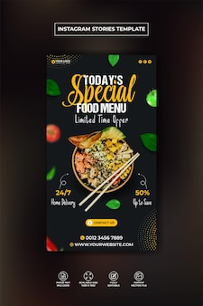 Delicious burger and food menu instagram and facebook story template premium vector