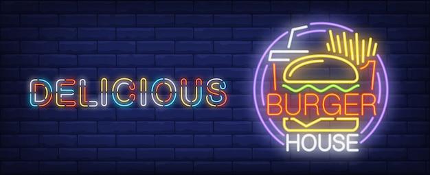 Insegna al neon deliziosa della casa di hamburger. patatine fritte, coca cola e gustoso hamburger.