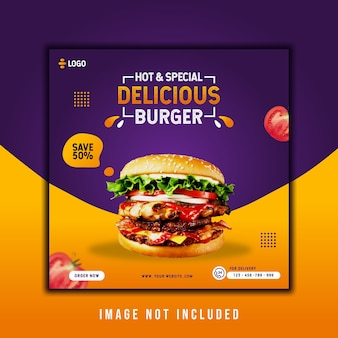 Delicious burger instagram post template promotion