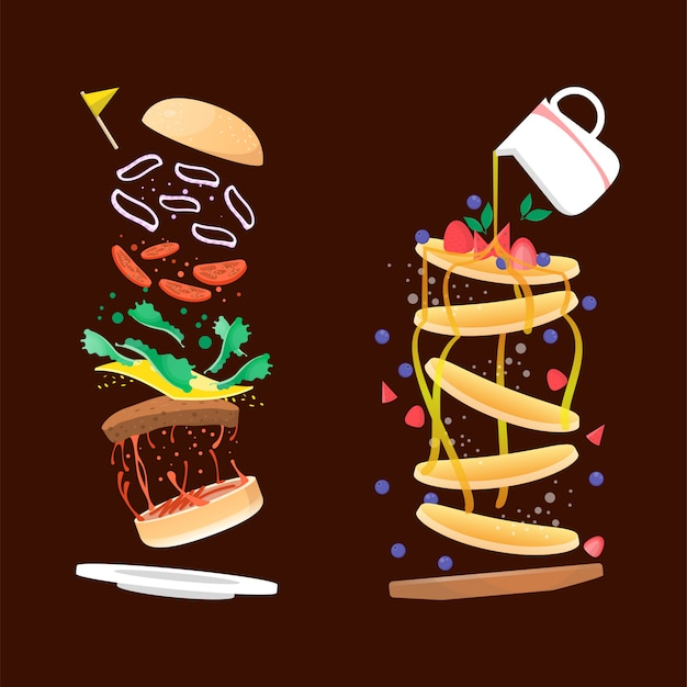 Delicious burger and pancake illustration