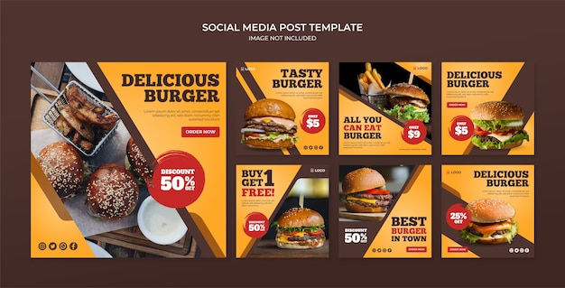 Delicious burger social media instagram post template