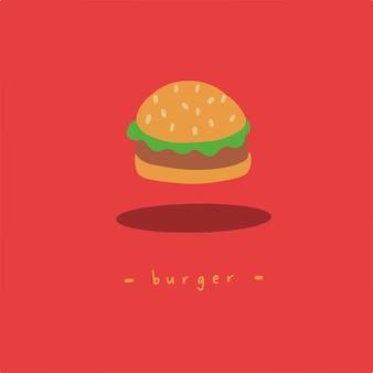 おいしいハンバーガーシンボルソーシャルメディアポスト食品ベクトルイラスト