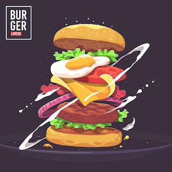Delicious burger vector illustration