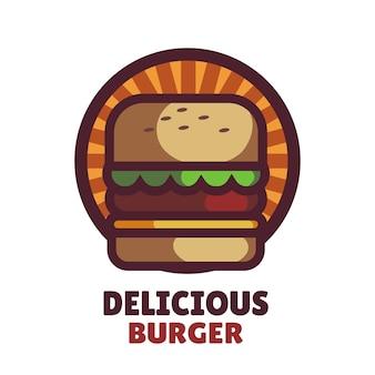 Вкусный бургер винтажный логотип