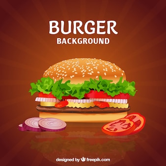 Delicious burger with variety of ingredients