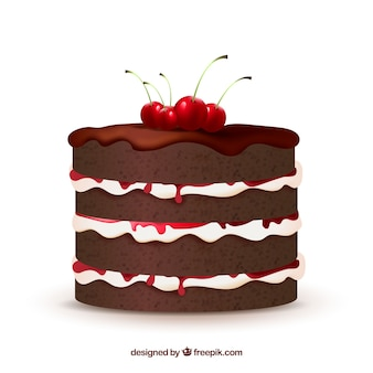 Delicious cake in realistic style