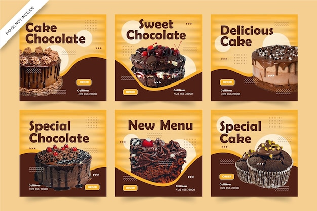 맛있는 케이크 소셜 미디어 게시물 템플릿