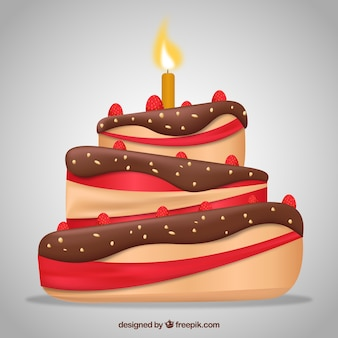 Delicious cake with candles and chocolate cream