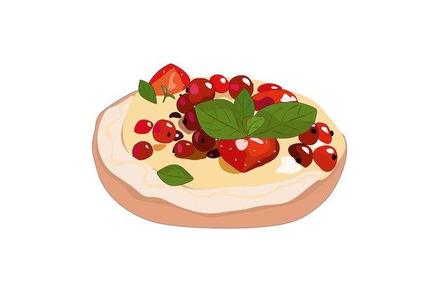 Delicious cake with cream berries and mint vector illustration