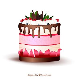 Вкусный торт с глазурью в реалистичном стиле