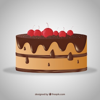 Delicious cake with glaze in realistic style