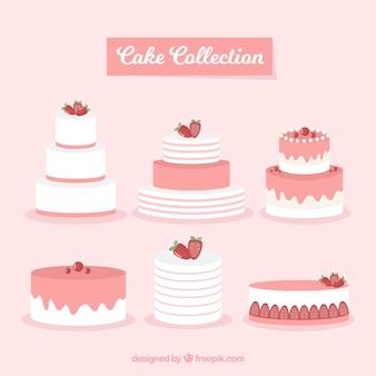 평면 스타일의 맛있는 케이크 컬렉션